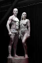 Statues for live event - Bloggpriset 2012 @ Korjaamo, Helsinki. Body painting: Riina Laine