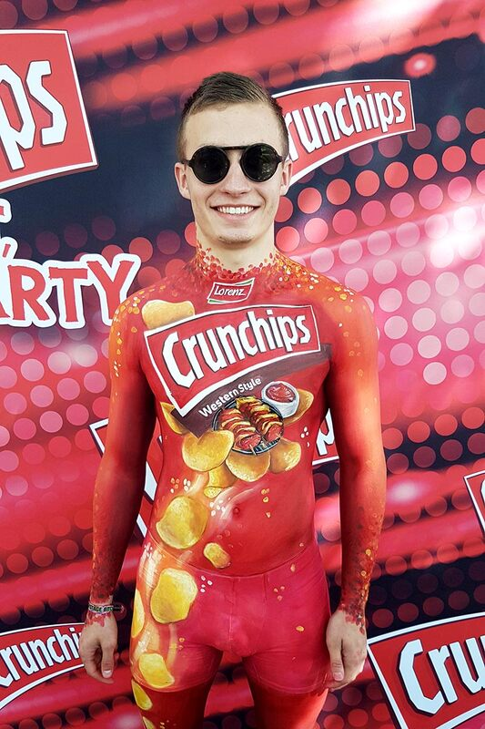 PR painting with logos | Body painting & photo: Riina Laine | Client: Crunchips/ Lorenz Snack-World At