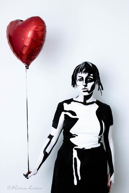 A girl with a balloon. Inspired by Banksy | Client: Linda Vuorenvirta | Body paint & photo: Riina Laine
