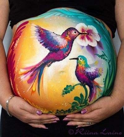 Hummingbirds - Belly painting & photo: Riina Laine