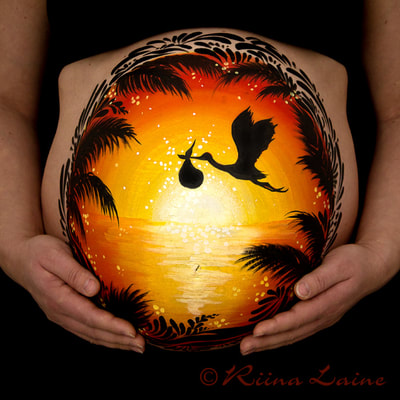 Sunset - Belly painting & photo: Riina Laine