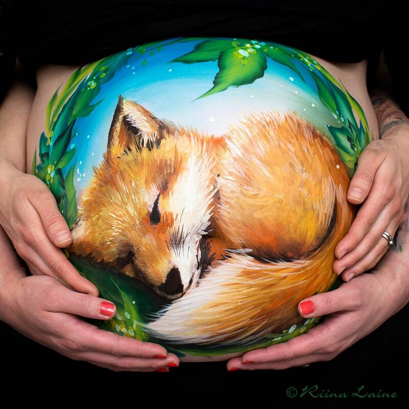 Little fox baby cub - Belly painting & photo: Riina Laine